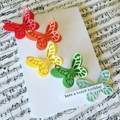 cscholes013's Handmade Card Design: with colorful butterflies and the sentiment Have A Happy Birthday