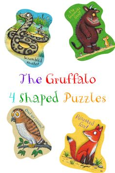 4 puzzles for the price of 1! Piece together the 4 different puzzles and find out what the Gruffalo actually wants for supper!    The puzzles are all cut into a different number of pieces, making this the ideal set fora  family of different aged children.