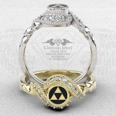 Glorious legend of Zelda inspired ring with Diamonds and