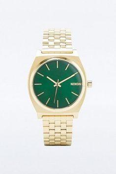 """Nixon – Analoge Armbanduhr """"Time Teller"""" in Gold und Grün &#8211…"""