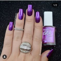 Want to know how to do gel nails at home? Learn the fundamentals with our DIY tutorial that will guide you step by step to professional salon quality nails. Purple Wedding Nails, Purple And Silver Nails, Purple Ombre Nails, Purple Acrylic Nails, Hot Pink Nails, Purple Manicure, Purple Nail Designs, Short Nail Designs, Gel Nails At Home
