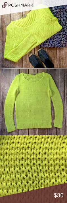 """GAP Neon Yellow Open Loose Knit Sweater GAP Neon Yellow-Green Open Loose Knit Sweater. Bring back the 80s in Neon style! Lovely open Knit is great for every season. Layer with a long shirt under in the winter or a Cami or Bralette this spring. GUC with minimal piling. No holes or stains. Very stretchy acrylic Knit. Measures 19"""" flat across at bust. 26"""" long with a 25"""" long sleeve. Offers welcome. GAP Sweaters Crew & Scoop Necks"""
