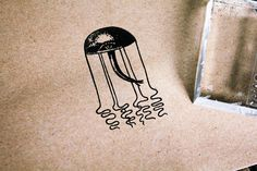 Jellyfish Stamp - Jellyfish Rubber Stamp - Seafood Rubber Stamp - Ocean Rubber Stamp