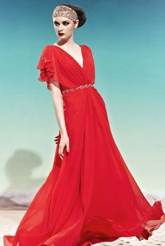 Romana in Red V Neck Evening Dress,  Dress, Red Long evening dress  Red Prom, Chic