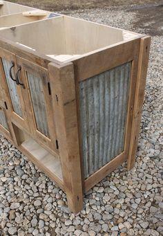 Rustic Vanity 60 Reclaimed Barn Wood w/Barn Tin 9490 by Keeriah