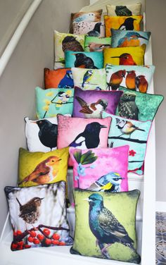Bird fabric cushions by Myrte- Stricklett Stricklett Stricklett Stricklett Stricklett Stricklett Sheehan Sonoma Craft, this one is for you! Diy Pillows, Decorative Pillows, Throw Pillows, Handmade Pillows, Printed Cushions, Scatter Cushions, Bird Pillow, Bird Theme, Textiles