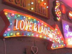 'love & laughter' Chris Bracey neon