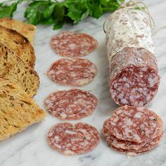 Chuck Fred - Smoky Spiced Salami   Gourmet Food World   Nutmeg and allspice give this aged pork salami mildly smoky, spiced flavor profile that's very unique.