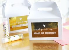 "Bridesmaid & Maid of Honor Gift Box Set with Labels (set of 8) Wedding Bridal Party ""Will you be my..."""