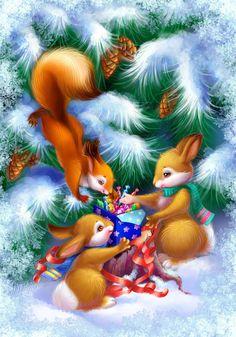 #Christmas #Fan #Art. (Winter little animals) By: OlesyaGavr. [THANK U 4 PINNING!!]