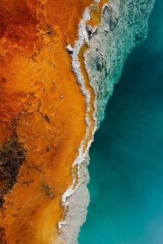 Pool Edge by Janet Little Jeffers/ edge of geothermal pool in Yellowstone national park Abstract Photography, Aerial Photography, Images Murales, Action Painting, Orange And Turquoise, Aqua, Art Abstrait, Birds Eye View, Belle Photo