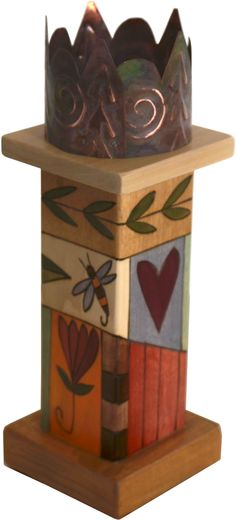 Small Pillar Candle Holder – Beautiful candle holder with colorful block icons and unique stamped metal element Handmade Candle Holders, Pillar Candle Holders, Handmade Candles, Pillar Candles, Peace Pole, Garden Poles, Garden Deco, Wood Patterns, Henna Patterns