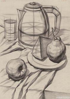 #画室优秀作品投稿#静物结构素描作品。水...