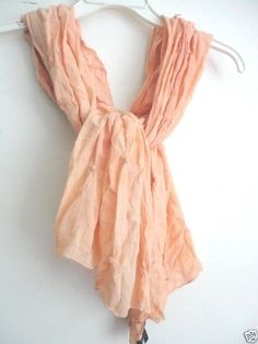 EILEEN FISHER Artisinal Scarf NWT $138  Weightless Italian Wool Puckered Apricot #EileenFisher #Scarf