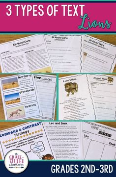 Second and third grade teachers this Lions reading has 3 types of text! One product with Informational Text, a Fictional Story, and a Non-Fiction Poem. Each literature type has 4-7 printables that are Common Core aligned and cover many of the ELA standard