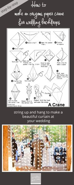 paperwork // origami Ashley, here are your cranes! ♥ how to make origami paper cranes wedding step Origami Diy, Origami Paper Crane, Origami Wedding, How To Make Origami, Useful Origami, Origami Design, Origami Flowers, Origami Tutorial, How To Make Paper