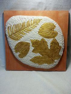 "Samuel Turner - ""4 golden leaves"" Mixed media ceramic and acrylics"