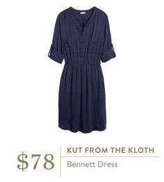 Id like to try a dress in this style - buttons, rolled sleeves. Navy blue is a color that looks great on me.