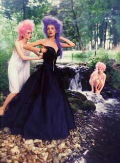 """Michele Hicks, Esther Cañadas, and Jan Dunning in """"At That Time"""" photographed by Ellen von Unwerth 