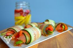 Snack Idea: 10-minute #snack meal: cucumber, smoked salmon, avocado & bell pepper salad wraps.  Ridiculously easy meal to prep and for a quick energy pick-up!