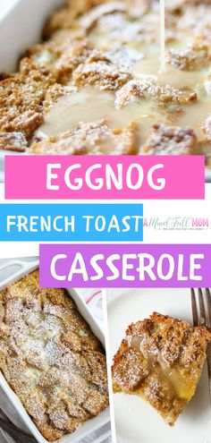 Eggnog French Toast Casserole is an easy, make-ahead breakfast casserole that's perfect for a Christmas morning! Assemble this the night prior to baking to spend more time with your family on their holiday vacations! Make Ahead Breakfast Casserole, French Toast Casserole, Brunch Recipes, Breakfast Recipes, Breakfast Ideas, Breakfast Dishes, Brunch Ideas, Breakfast Time, Eggnog French Toast