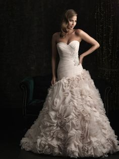 8950, ball gown, ruching, textured skirt, strapless, sweetheart, dropped waist, organza, Madeleine's Daughter Bridal Inventory