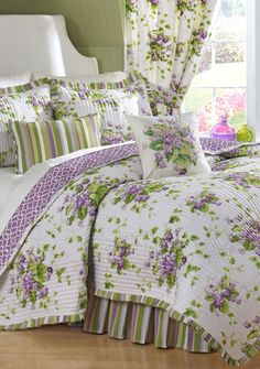 Violet's Big girl bed - purple sheets instead of white Waverly® Sweet Violets Quilt Set Collection Waverly Bedding, Casas Shabby Chic, King Quilt Sets, Sweet Violets, Beautiful Bedrooms, Bed Spreads, Bedding Sets, Bedroom Decor, House Design