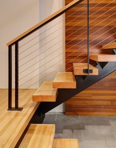 Floating Wood Stairs Railing Design 4 - house and flat decorations Wooden Staircase Design, Wood Railings For Stairs, Stair Railing Design, Metal Railings, Staircase Railings, Stair Treads, Staircase Ideas, Steel Stairs Design, Hand Railing