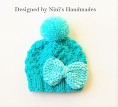 Chunky Knit Turquoise and Aqua Pom Pom Hat baby by NinisHandmades #quality #baby #bluechunkyhat #babyshower #giftset #babypompomset  #babyoutfit #babygiftset #turquoiseblue #gift  #handmade #handmadewithlove #madewithlove #loveineverystitch #handmadeinamerica #madeinamerica #madeintheusa #babygirlgift #bowhats #knitted beanies #pompombeanies #ninishandmades