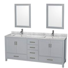 """View the Wyndham Collection WCS141480DGYCMUNSM24 Sheffield 80"""" Freestanding Hardwood Vanity Cabinet, Natural Stone Vanity Top, Two Undermount Sinks, Two Mirrors, and One Hole at Build.com."""