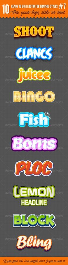 Buy 10 Logo Graphic Styles by cicone on GraphicRiver. 10 Logo Graphic Styles is the perfect file for you. There are a total of 10 different graphic styles. Photoshop Fonts, Photoshop Text Effects, Typography Logo, Graphic Design Typography, Game Font, Game Ui, 10 Logo, Game Logo Design, Text Design