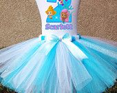 Bubble Guppies Molly Oona Deema iron transfer Birthday Tshirt Personalized w/ Name & Age- Option to add on Detachable Shoulder Bow and Tutu
