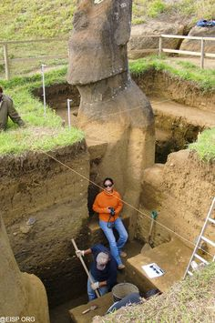 The Easter Island Heads have bodies underground.  Makes the mystery even more mysterious.