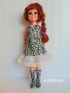 Crissy Clothes Animal Print DRESS & BOOTS lavender lace Handmade Fashion