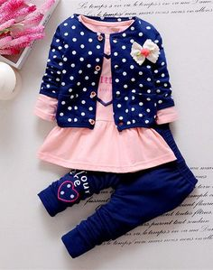 a79a985504e4d BibiCola Kids Spring 2016 new Korean wave point clothing set baby girls cute  cotton clothes suit childern cartoon suit(China (Mainland))