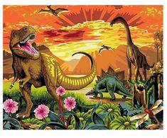 140 x 100 cm GREAT ART Affiche Dinosaure Murale Chambres Enfants D/écoration Murs comiquel Aventure Dino Mondiale Style Jungle Cascade Dinosaurus Mur Deco Poster Mural Image by