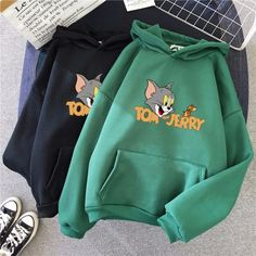 Women Tom & Jerry Hoodies Sweatshirt Hat Velvet Thicken Pullover Cartoon Cute Hoodie Tracksuit Harajuku Aesthetic Oversized - Source by - Hoodie Sweatshirts, Pullover Hoodie, Sweater Hoodie, Oversized Hoodie Outfit, Hoody, Harajuku, Stylish Hoodies, Teenage Outfits, Cute Hoodie
