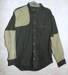 Cabela's Shooting Shirt Hunting Heavy Duty Long Sleeves Green Beige Mens L Tall #Cabelas #ButtonFront