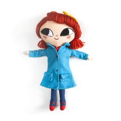 A crafty throwback, with removable felt jacket, lovingly embroidered details and soft hair in Lily's trademark fiery red hue. Smart yellow bow, button nose, freckled cheeks and expressive, curious eyes. This Traveling Girl is ready for adventure! Doll measures 14″ tall and is surface wash only. Available for preorder at www.latelylily.com