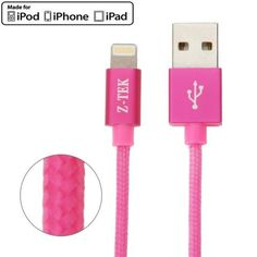 Z-TEK MFI Woven Style High Quality Metal Head 8pin to USB Data / Charger Cable for iPhone 6 & 6 Plus / iPhone 5 & 5S & 5C / iPad Air 2 & Air / iPad mini 3 & mini 2 / iPod, Length: 1.2m