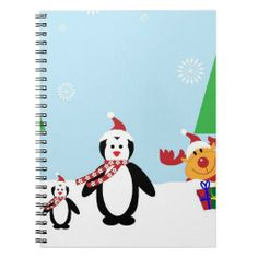 Winter Penguin Holiday Spiral Notebook