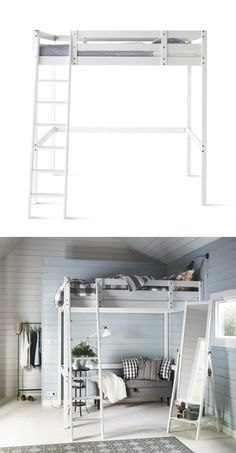 You can use the area under the STORÅ loft bed for storage, a work space or seating.