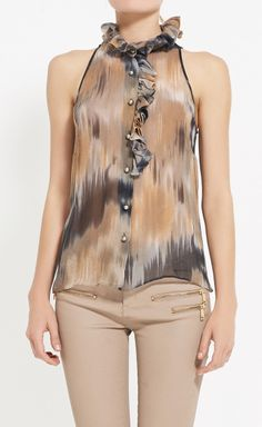 Lela Rose Taupe, Grey And Multicolor Top. ok yes but those pantsss