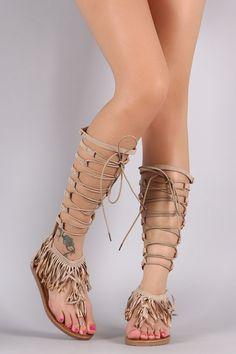 Suede Fringe Lace-Up Gladiator Flat Sandal