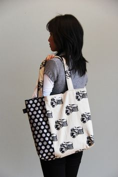 On Sale Tote bag Camera and dot print shopping bag by lunitouti