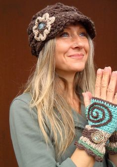 SPIRALS FINGERLESS GLOVES funky knit crochet mitts by GPyoga, $46.00
