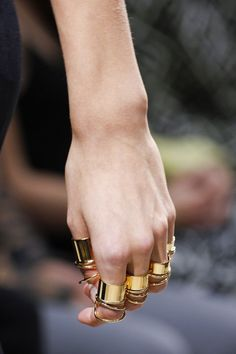 "Balenciaga by Nicolas Ghesquière Golden ""Tube"" Brass Rings"