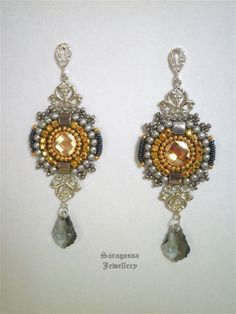 Lithium - Neo-victorian steampunk earrings with gold crystals, gold and silver, long earrings bead embroidered