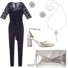 Jumpsuit blu in viscosa con top in pizzo con scollo a V e fascia in vita 3104e8baadd