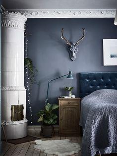 12 Dark Interiors Done Right Bedroom Interior Bedroom Decor Blue Bedroom Decor, Home Bedroom, Bedroom Wall, Master Bedroom, Tranquil Bedroom, Teen Bedroom, Bedroom Sets, Design Bedroom, Scandinavian Bedroom
